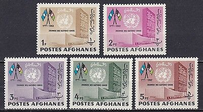 Afghanistan #618-622 Mnh Un Headquarters & Flags Of Un & Afghanistan