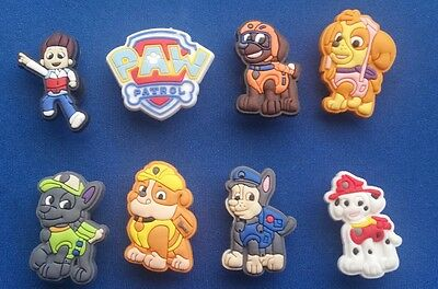 New 8 Pc Paw Patrol Ryder Chase Shoe Charms Jibbitz Cake Party Favors Wristbands