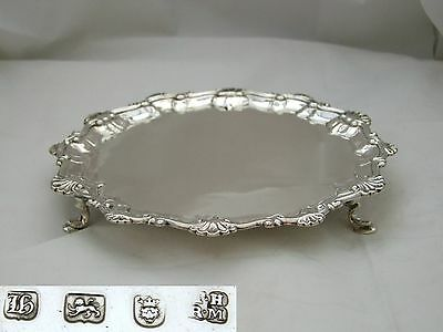 Rare George Iii Hm Sterling Silver 3 Footed Salver 1763