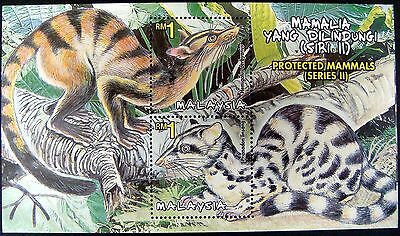 2000 Malaysia Wild Animal Stamps Souvenir Sheet Wild Life Stamps Mammals