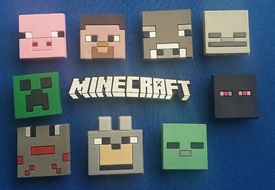 10 Pc Mining Pixels Mc Shoe Charms Jibbitz Cake Toppers Party Favors Wristbands