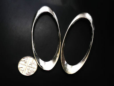 """4 x 68 mm Silver Tone Oval Rings 2.3/4"""""""
