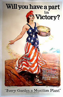 Original WWI War Poster, Will You Have A Part In Victory, Flagg,Linen,War Garden