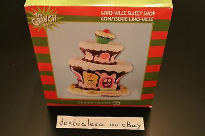 RARE Dept 56 Dr. Seuss The Grinch Xmas Village Who-Ville Sweet Shop NIB