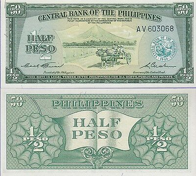 Philippines 1/2 Peso Banknote 1949 Uncirculated Condition Cat#132-3068