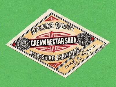EARLY 1900's CREAM NECTAR SODA BOTTLE LABEL by CHAS S SCHOLL  BATH PA