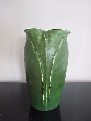 "GRUEBY Matte Green Pottery 8"" Leaf Flower Arts & Crafts Nouveau Vase"