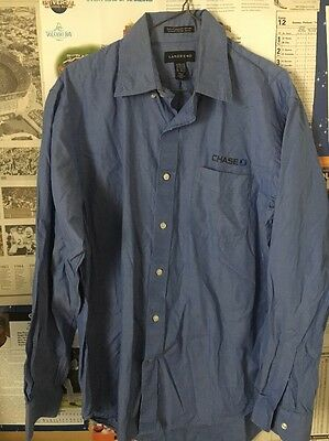 Chase Bank Blue Button-Front Long Sleeve Employee Shirt size: 15 1/2 X 34