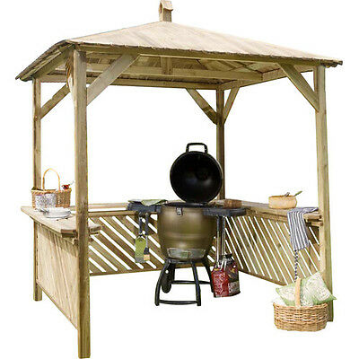Broxton 2.2 W x 2.2m D Gazebo Freestanding Square Outdoor BBQ Grill Shelter New