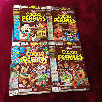 Cocoa Pebbles Cereal box Flat Lot of 4 boxes