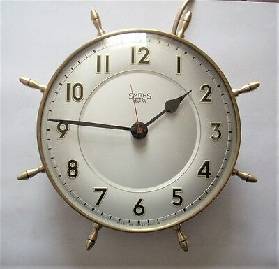 Vintage Smiths Sectric Brass Ships Wheel Electric Wall Clock Nautical