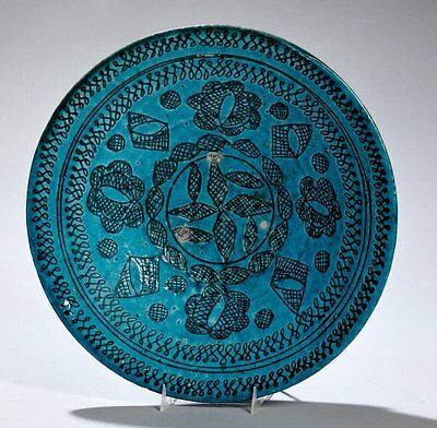 Persian Islamic Blue Ceramic Bowl with floral design. Size 13 1/4 inches diamete