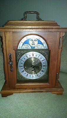 Stunning Vintage Emperor Moon Dial Mantle Clock 8-Day Key Wind - Works Great !