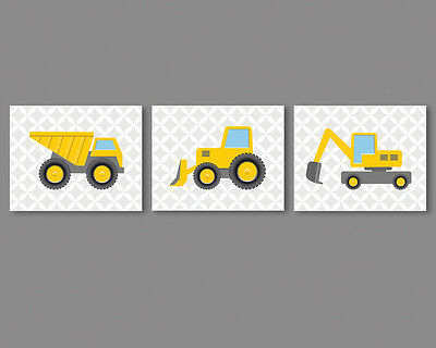 3 prints, boy room wall art - construction vehicles, truck, bulldozer, excavator