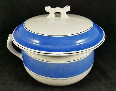 Rare Decorative Antique  Ironstone Lidded Chamber Pot Potty With Blue Bands