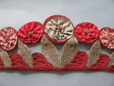 Rare 1920's Flapper Hat Trim Millinery Metallic Floral Band Hand Done Antique