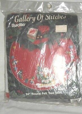 "Bucilla Tree Skirt Kit 33192 NIP Santa's Sleigh 34"" Holiday Christmas"
