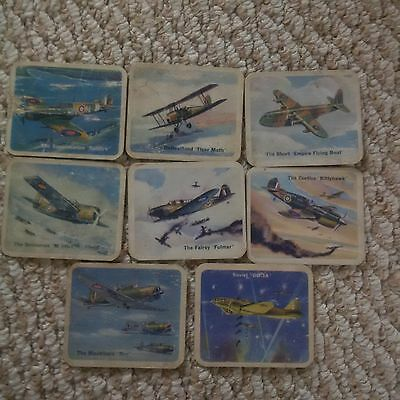 Cracker Jack 1940's Airplane Card lot x 8 (from series of 98 cards) UN Battle