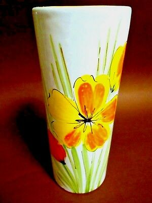 ITALY Italian Tall White Glazed Ceramic Vase  w. Orange Poppy Flowers - Vintage