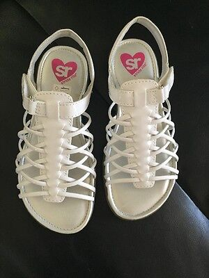 New Stride Rite Adaliah Girls White Strappy Sandals Hook And Loop Closure 12, 3