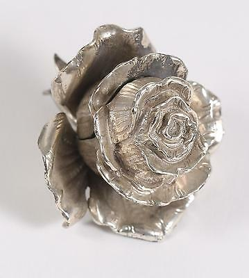 Very Fine Old Sterling or 900 Silver Rose Bud Shape Hinged Box ca. 20th century