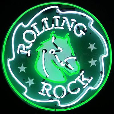 LARGE  60 CM ( 24 inches)ROUND NEON SIGN ROLLING ROCK  **IN STOCK NOW**