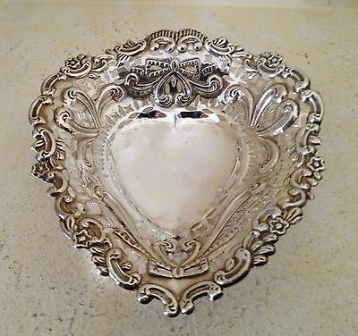 Sterling Silver Heart Shaped Footed Candy Dish