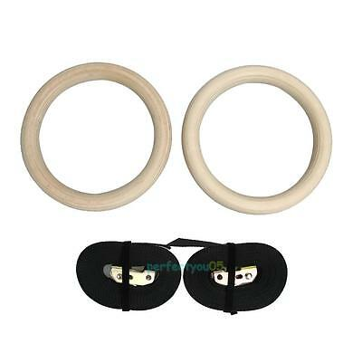 2pcs Wooden Gymnastic Gym Ring Fitness Hoop w/ Straps Buckles Strength Training