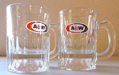 A&W Root Beer Baby Glass Mugs, Lot of 2, New Unused