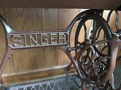 Vintage Oak Sewing Machine Cabinet with Treadle and Four Drawers - EMPTY