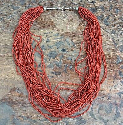 SEED BEAD Multistrand Maroon Burgundy Red Coral Southwestern Necklace Vintage
