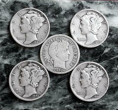 1916 BARBER & MERCURY Dimes 1940-S 1942-S 1943-S 1944-S  *** FREE SHIPPING ***