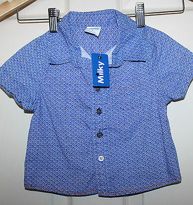 New  with Tags MILKY Baby Boys blue/white short sleeve Shirt size 0  NEW