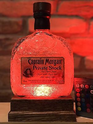 Captain Morgan Private Stock LED Bottle Lamp Remote Control Man Cave Fathers Day