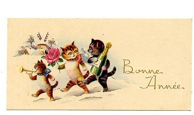 vintage cat mini calling card gift card tradecard cats champagne & rose CHARITY