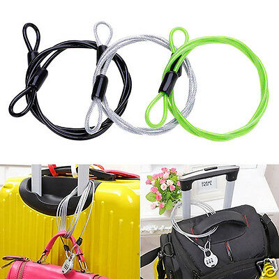 Luggage Outdoor Bicycle Bike Cycle Security Double Loop Cable Lock Wire 100cm