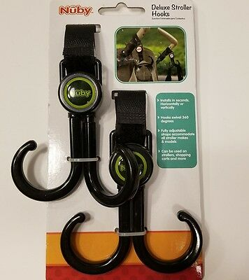 New Nuby Deluxe Stroller Hooks For Diaper Bag Purse Totes Toys And More