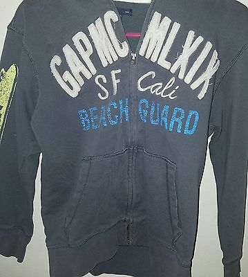 Gap Kids Girls /Boys X-Large Size 12 Hoodie Zip Up Jacket Gray Distressed Look