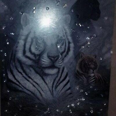 Tiger  tear  picture matt picture and wooden frame  with gem stones,, gorgeous