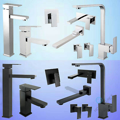 Lead Free Black/Chrome Square Kitchen Laundry Sink Shower Basin Mixer Tap Spout