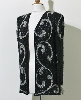"Jasdee Vintage Jacket Length 28"" Long Sleeve HandWork Bead&Sequins On Silk #1171"