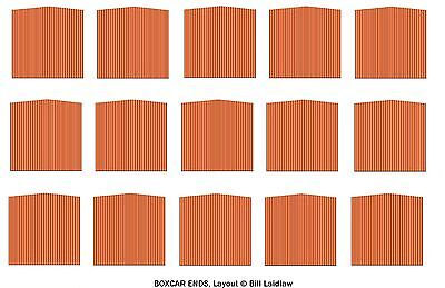 15 wood-era printed boxcar ends for 7 cars TT scale Orange