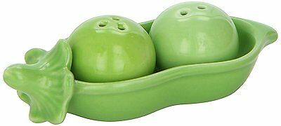 Kate Aspen Two Peas in A Pod Ceramic Salt and Pepper Shakers in Ivy Print Gift B
