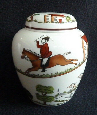 """Hunting Scene"" Crown Staffordshire Bone China Small Ginger Jar"