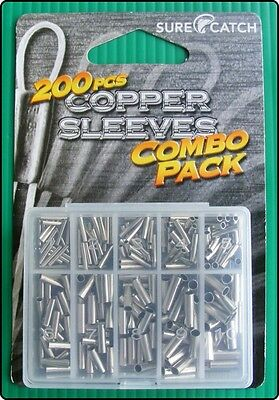 200 Surecatch Copper Trace Line Wire Braid Crimps Sleeves Mixed Pack of 10 Sizes