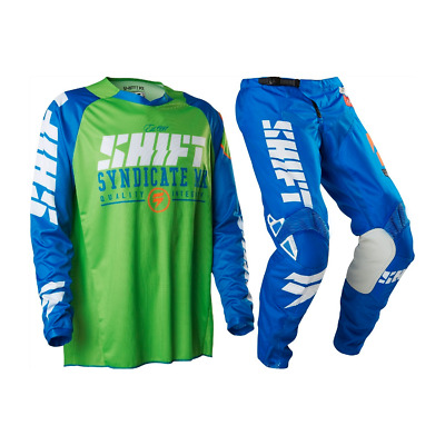 Shift 2016 Strike Blue/green Mx Motocross Jersey Pants Gear Set M/32