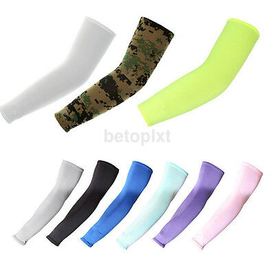 1Pair Cooling Arm Sleeves UV Cover Basketball Cycling Running Sun Protection FR