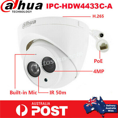 Dahua 4MP IP Camera IPC-HDW4431C-A Built-in Mic PoE IR Eyeball English AUS STK