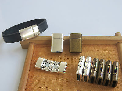 5 Sets 10x2mm Flat Magnetic Clasp Findings for 5mm 10mm Flat Leather Bracelet