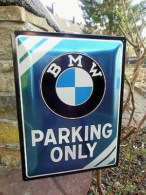 BMW Parking Only German LARGE Official Wall Sign - Licensed by BMW Blue Metallic